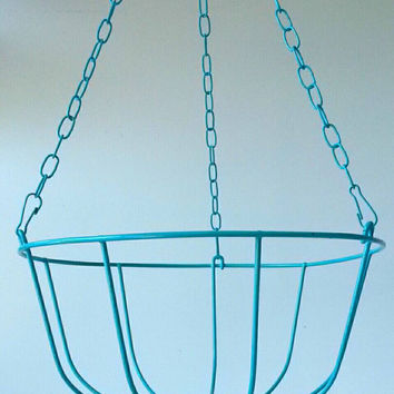 Hanging Fruit Basket Teal Blue Vintage Wire Bowl Bathroom Towel Storage  Rustic Kitchen