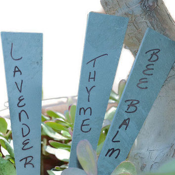 Garden Markers Green Slate Herb Stakes
