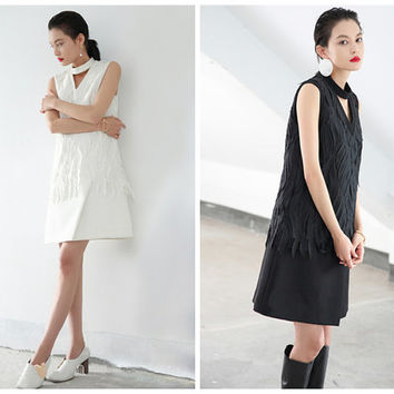 sleeveless dress,white dresses for women,black dress,white dress,vest dress,party dress,grunge dress,elegant dress,winter dress.--E0786