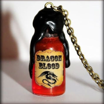Dragon Blood Glass Bottle Vial Bronze Pendant Necklace. Harry Potter Potion