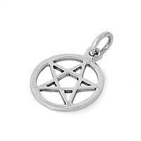 "Sterling Silver Wicca Traditional Pentagram Pendant 20MM (Free 18"" Chain)"