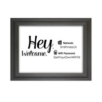 Wi-Fi Password Sign / Guest Room Decor / Hey. Welcome. Connect WiFi / Funny Home / Gallery Wall Print