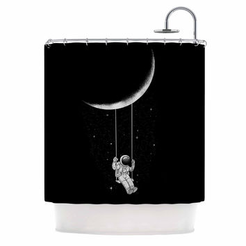 "Digital Carbine ""Moon Swing"" Black Fantasy Illustration Shower Curtain"