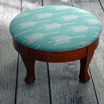 Vintage Reupholstered Footstool with Turquoise Arrow fabric