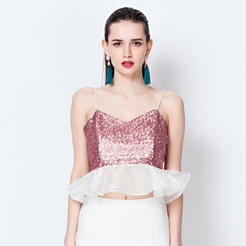 Spaghetti Strap Sequined Flounce Mesh Crop Top And Pencil Mini Skirt
