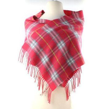 PEAPON Burberry Pink Salmon Yellow Gray Check Merino Wool Scarf Long Skinny Fringe AUTH