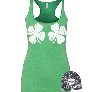 St Patricks Day Shamrock Racerback Tank Top St Pattys Day Shirt Womens St Patricks Day Shirt Lucky Charm Sexy Gifts Womens Graphic Tees Gift