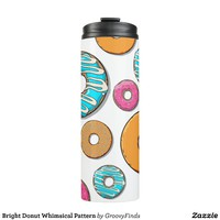 Bright Donut Whimsical Pattern Thermal Tumbler