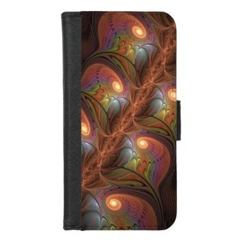 Colorful Fluorescent Abstract Modern Brown Fractal iPhone 8/7 Wallet Case