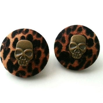 Leopard skull wild thing rockabilly fabric button earrings
