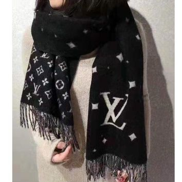 LV fashionable hot selling cashmere letter jacquard two-sided pashmina scarf with tassel edge