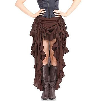 2017Plus szie Summer Women fashion mermaid/trumpet skirt Steampunk Gothic European Brown asymmetrical ankle-length ruffles Skirt