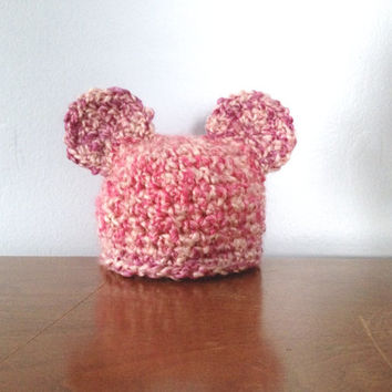 Newborn Girl Bear Hat - Crochet Baby Hat - Pink Mouse Hat - Newborn Ear Hat - Chunky Infant Girl Beanie - Cute Baby Hats - Baby Shower Gift