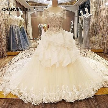 LS64322 special wedding dresses lace ball gown short sleeves corset back wedding gowns 2018 robe de mariage real photos