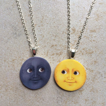 Moon Emoji Friendship Necklaces