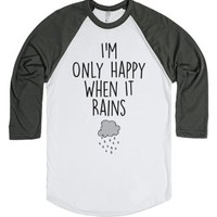 Only Happy When It Rains-Unisex White/Asphalt T-Shirt