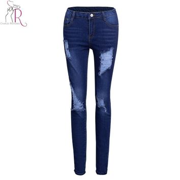 Women High Waist Ripped Jeans Blue Light Wash Vintage Casual Pockets Skinny Pants 2017 Spring Fashion Zipper New Ladies Wear