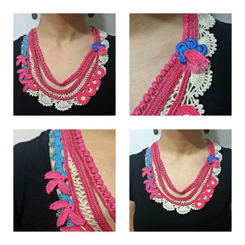 Colorful Freeform Crochet Bib Necklace - Crocheted Lace-Beaded Crochet Flowers-