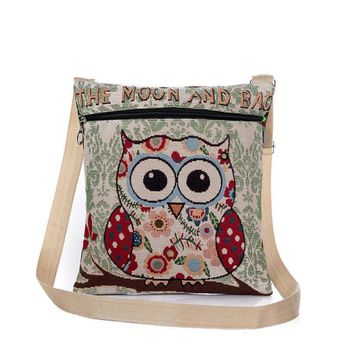 Xiniu Women Owl Handbags Embroidered Owl Printed Shoulder Bags For Female Small Crossbody Bags japan Canvas Casual Bags Postma