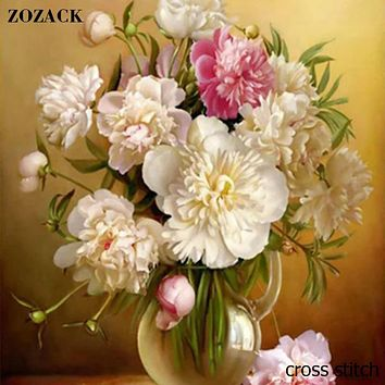 Zozack 70*80cm Needlework,DMC DIY cross-stitch,Full embroidery kits,Flowers vase patterns chinese cross stitch printed on canva