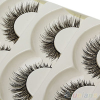 deals] Fashion Handmade False Eyelash 5 Pairs Long Black Soft Fake Eye Lash Extension = 5988043905