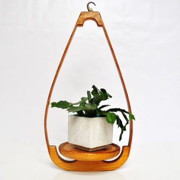 Mid-Century Bentwood Teardrop Hanging Plant Holder or Shelf