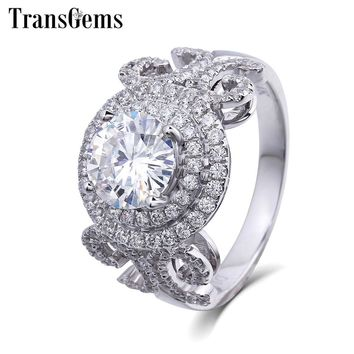 TransGems Luxury Solid Gold Engagement Ring Center 1ct Halo Moissanite Diamond Ring Geniune 14K White Gold Ring for Women Gift