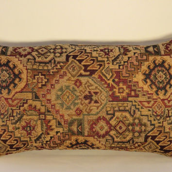 "Southwest Carpet Style Throw Pillow Tan Navy Wine Ready Ship Chenille Tapestry Magic Carpet Fringe ( B ) Oblong  12x20""  OOAK"