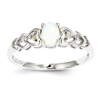 Sterling Silver White Opal & Diamond Ring