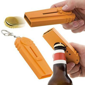Creative Tool Flying Cap Launcher Bottle Beer Opener with Keyring Key Chain