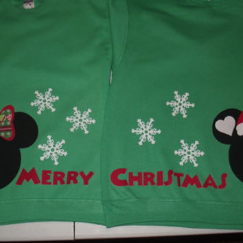2 Sweatshirts - Mickey Minnie Mouse - Disney Merry Christmas Santa Snowflake Custom SweatShirts Personalized Applique