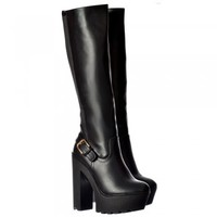 Onlineshoe Stretch Cleated Sole High Block Heel Platform Knee High Boots - Black, Brown - Onlineshoe from Onlineshoe UK