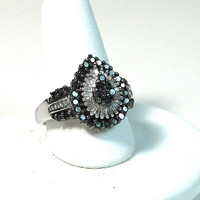 Black & Clear Diamonds 10K Karat Gold Ring 1+ Carats  Engagment Caviar Promise White Wedding Band Vintage Genuine Stones
