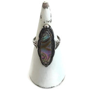 Native American Abalone Ring Sterling Silver, Bohemian Jewelry, Vintage Ring, Southwestern Jewelry, Gifts for Her, Boho Chic Ring