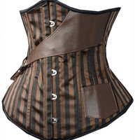 Brown Striped Steampunk Pirate Corset