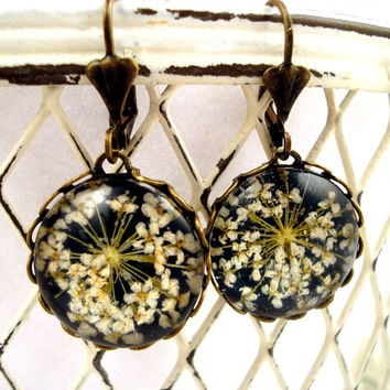Earrings with real dried flowers  - romantic bronze setting with french clips