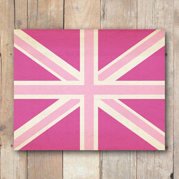 Pink Union Jack print, British flag printable art, printable dorm wall art, pink nursery printable wall art printable download, Sherlock art