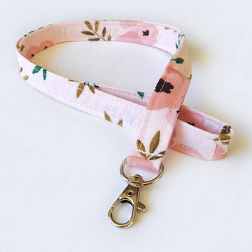 Boho Floral Lanyard / Flowers / Cute Keychain / Pretty Lanyard / Key Lanyard / ID Badge Holder / Fabric Lanyard / Pink Flowers / Girly