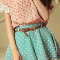 Quartet Whimsy Polka Dot Print Flounced Shorts in Minty Green | Sincerely Sweet Boutique