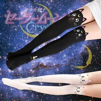 Sailor Moon Luna Artemis Cat Thigh High Tights Stockings