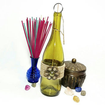 Upcycled Wine Bottle Incense Burner/No Mess Recycled Repurposed Green Glass Wine Bottle Incense Holder/Brass Flower Incense Burner
