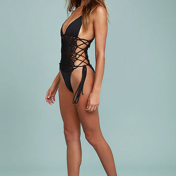 Frankies Bikinis Lilah Black Crochet One Piece Swimsuit