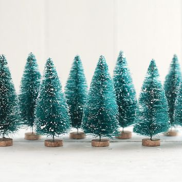 4 Inch Sisal Trees - Frosted Bottle Brush Christmas Trees, 6 Pcs.