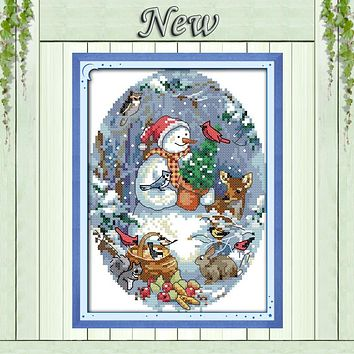 The snowman's friends Christmas Drawing 11CT DMC Pattern printed on fabric 14CT DMS Cross Stitch Embroidery Sets Needlework kits