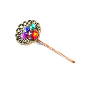 Colorful Peacock Bobby Pin - Embellished Hair Pin - Upcycled Vintage Jewel Cabochon