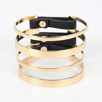 Banded Metallic And Vegan Leather Cuff