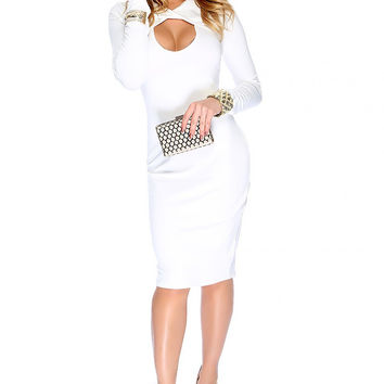 Nookie Revolution Long Sleeve Midi Bodycon Dress - White