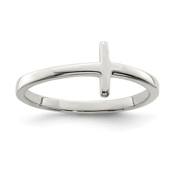 925 Sterling Silver Rose Gold-plated Sideways Cross Ring