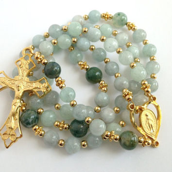 Aquamarine Rosary, Miraculous Medal of Mary, Catholic Prayer Beads, Gold Crucifix, March Birthstone