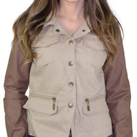 Dollhouse Women's Twill Vegan Leather Moto Jacket Coat